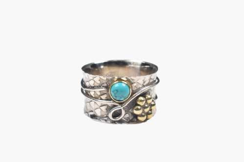 Sterling Silver & Turquoise Ring with Wire Wrap