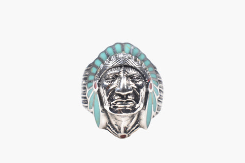 Native American Chief Turquoise & Sterling Silver Men's Ring