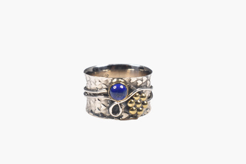 Sterling Silver & Blue Lapis Ring with Wire Wrap