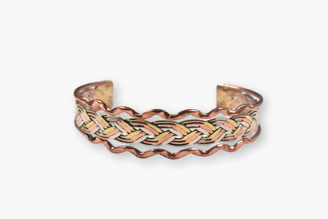 Copper, Sterling Silver & Brass Weave Cuff Bracelet