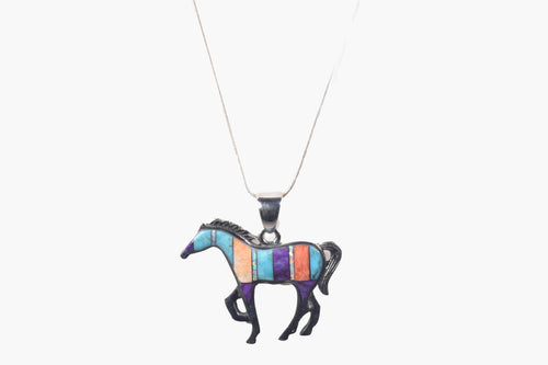 Inlaid Turquoise, Coral, Gemstone Sterling Silver Horse Pendant Necklace