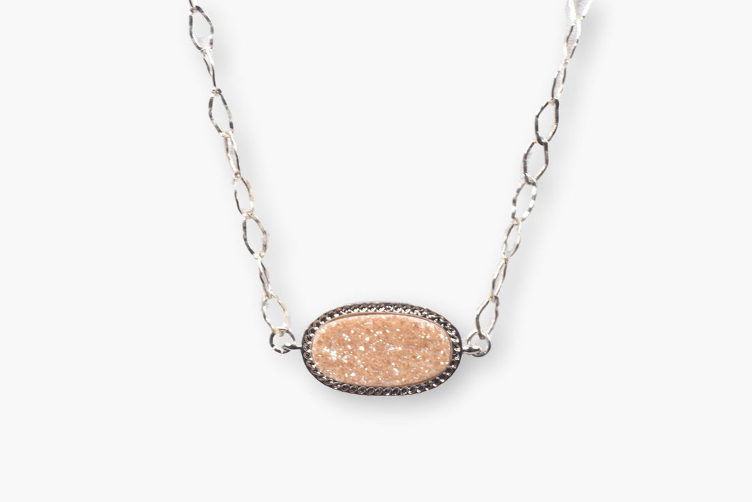 Designer Peach Crystal Druzy Choker Necklace