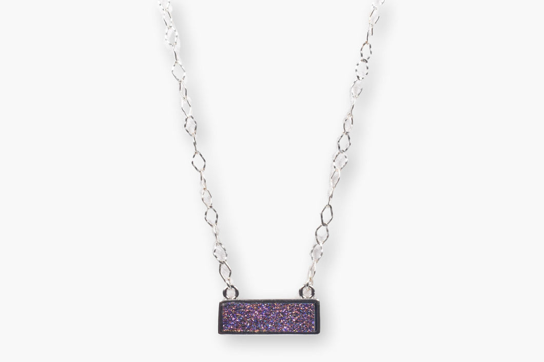 Designer Purple Crystal Druzy Choker Necklace
