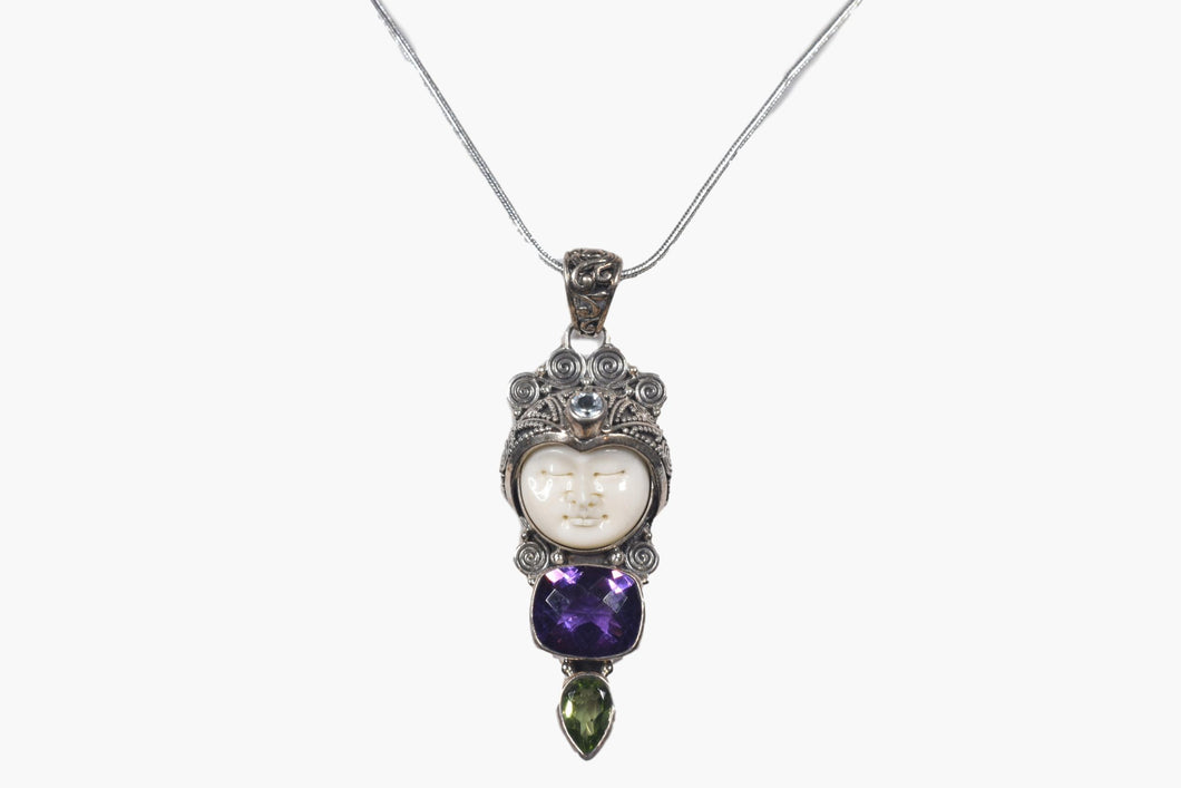 Exotic Carved Bone Face Amethyst, Peridot & Blue Topaz Sterling Silver Pendant Necklace