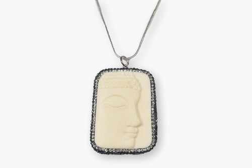 Exotic Carved Face Bone & Crystal Sterling Silver Pendant Necklace