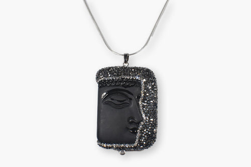 Exotic Carved Face Black Crystal Pendant Necklace