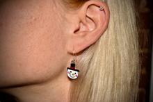 Load image into Gallery viewer, Holiday Snowman Enamel Earrings