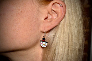 Holiday Snowman Enamel Earrings