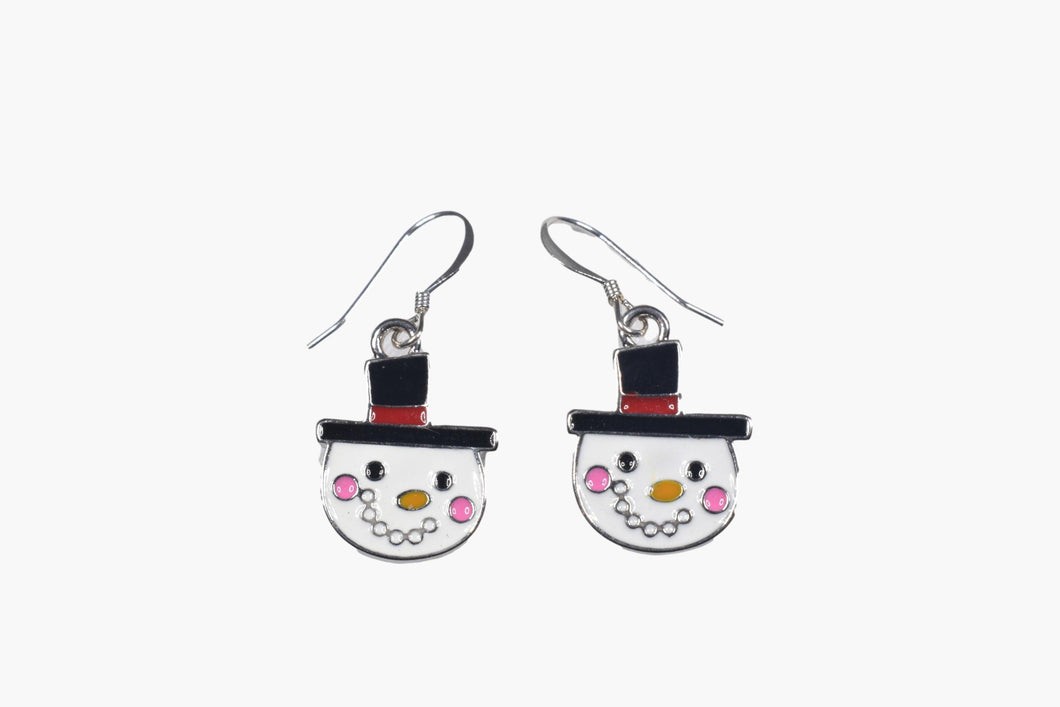 Enamel Snowman Holiday Earrings