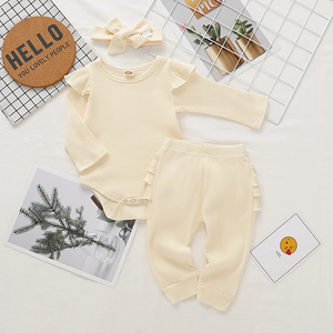 Apricot Long-Sleeve Bodysuit & Pant Set