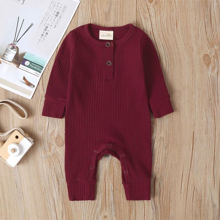 Baby Boy / Girl Cotton Knitted Style Solid Cardigan Long-sleeve Jumpsuit