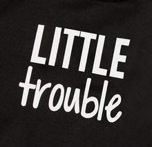 "Load image into Gallery viewer, ""Little Trouble"" Hoodie Jumpsuit"