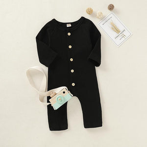 Baby Boy / Girl Solid Cardigan Design Long-sleeve Jumpsuit