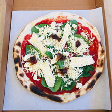 Load image into Gallery viewer, Big Blu Brie de Meaux, Spinach and Caramelised Onion Jam Pizza uncooked