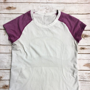 Primary Photo - BRAND: LULULEMON STYLE: ATHLETIC TOP SHORT SLEEVE COLOR: WHITE PINK SIZE: L SKU: 232-232123-19SIZE 10