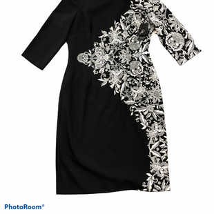 Primary Photo - BRAND: ADRIANNA PAPELL STYLE: DRESS SHORT LONG SLEEVE COLOR: BLACK WHITE SIZE: 10 SKU: 232-23290-44614