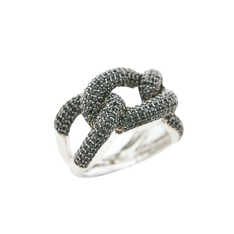 Silver Black Diamond Chain Ring