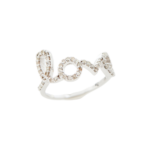 "White Gold and Diamond ""Love"" Ring"