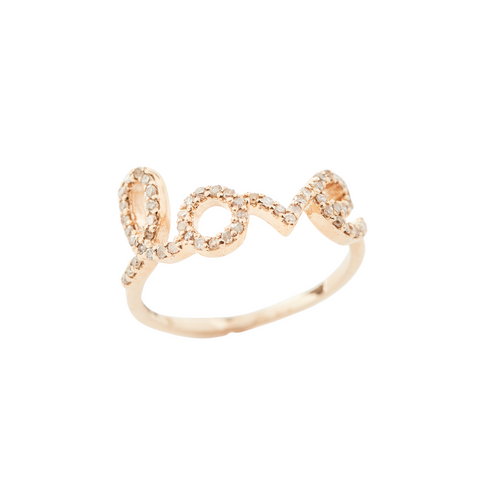 "Yellow Gold and Diamond ""Love"" Ring (Large)"