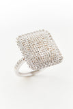 White Gold and Diamond Cushion Ring