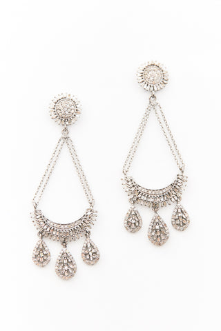 Sterling and Diamond Drop Chain Earrings