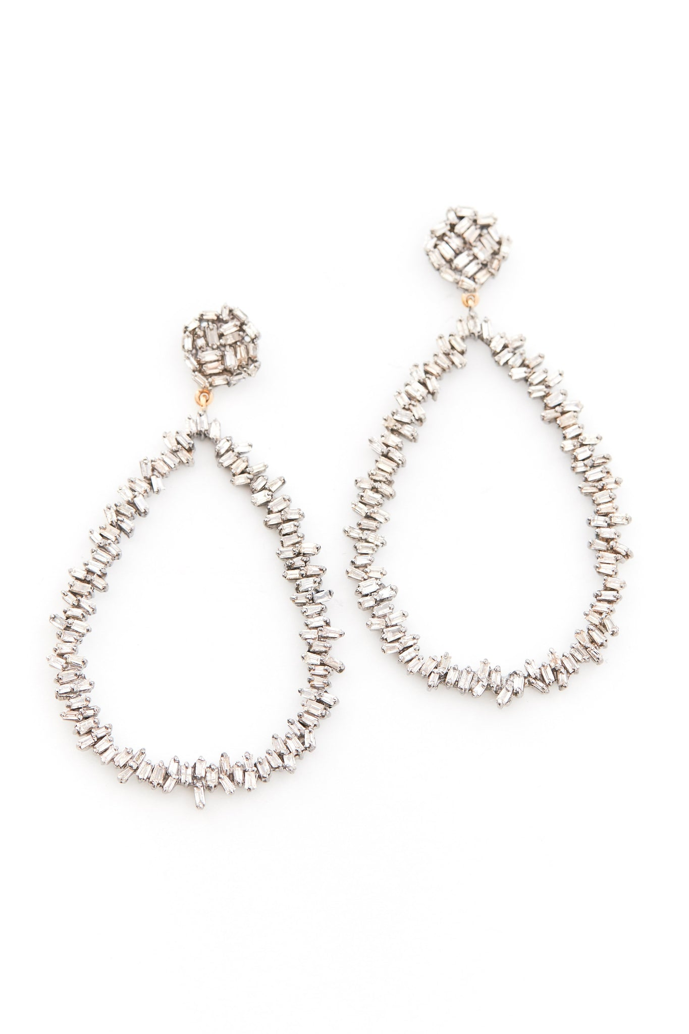 Silver Open Oval Brilliant Baguette Diamond Earrings