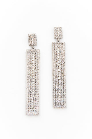 Silver and Brilliant Diamond Bar Drop Baguette Earrings
