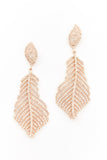 Yellow Gold and Diamond Feather Earrings