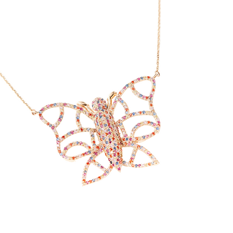 Yellow Gold and Multi Color Sapphire Butterfly Necklace