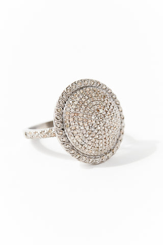 Silver and Diamond Cushion Ring