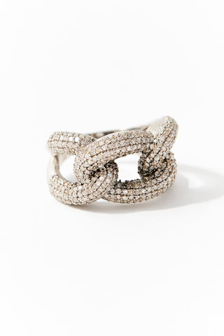 Silver and Diamond Chain Ring