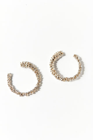 Silver and Diamond Large Open Hoop Earrings