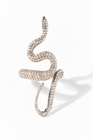 Silver Diamond Snake Ring
