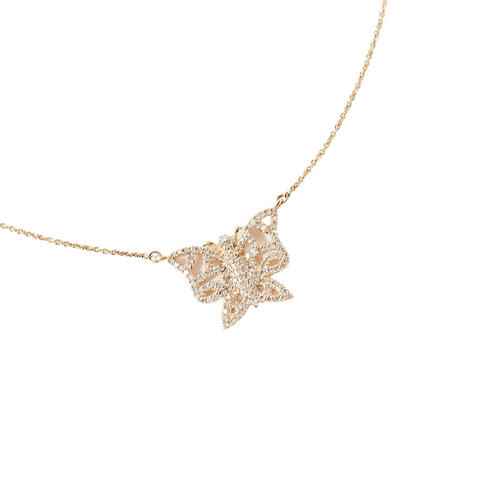 Yellow Gold and Diamond Mini Butterfly Necklace