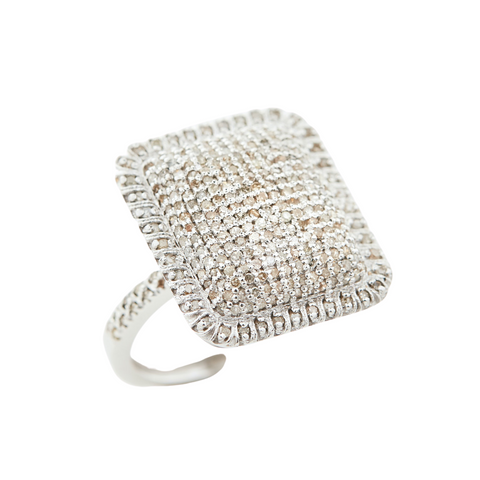Sterling and Diamond Square Cushion Ring