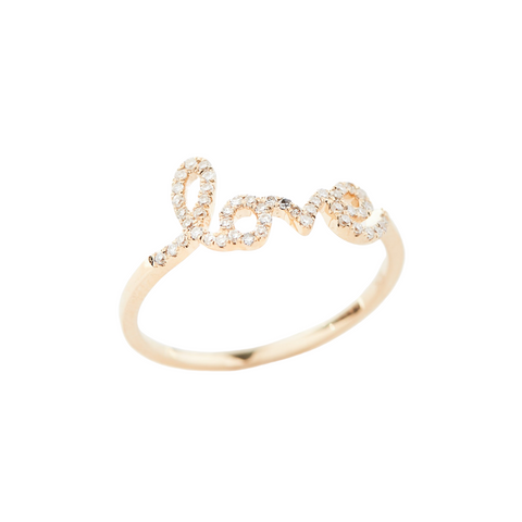 Yellow Gold And Diamond Love Ring (Small)