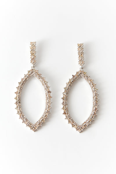 Silver and Champagne Diamond Open Drop Earrings