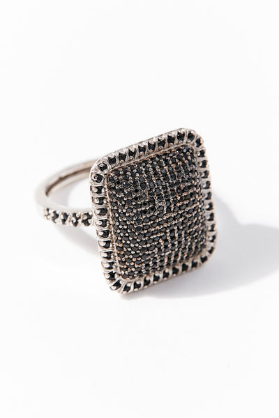 Black Diamond and Sterling Ring
