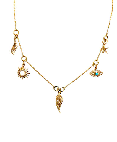 14k Gold Multi Charm Necklace