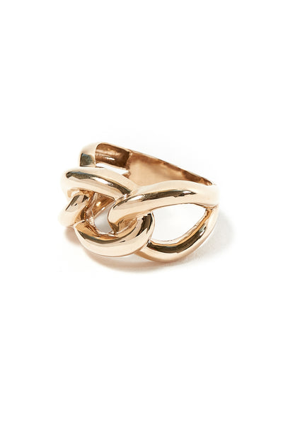 14k Solid Gold Chain Ring