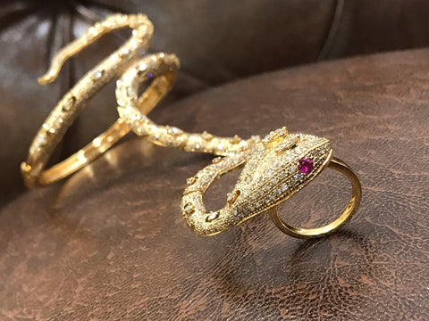 14k Gold and Diamonds Snake Ring/Bracelet
