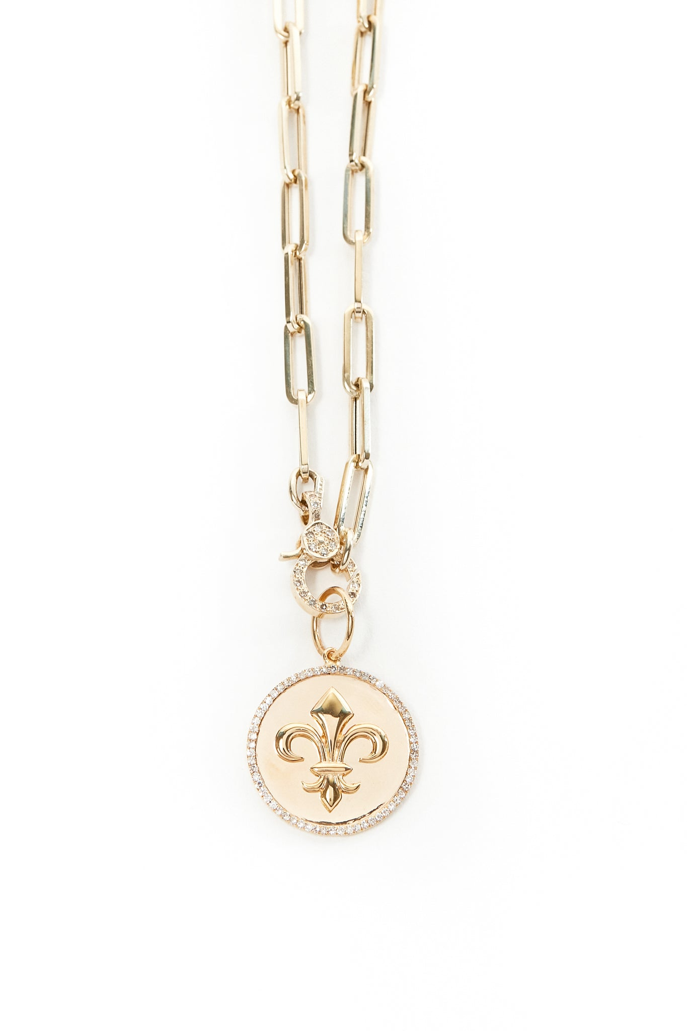 Gold and Diamond Fleur de Lis Pendant