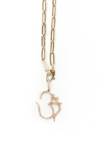 14k Gold and Diamond OHM Pendant