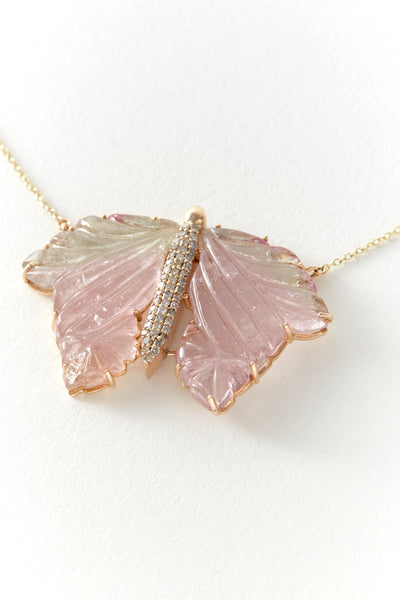 Hand Carved Tourmaline Butterfly Necklace