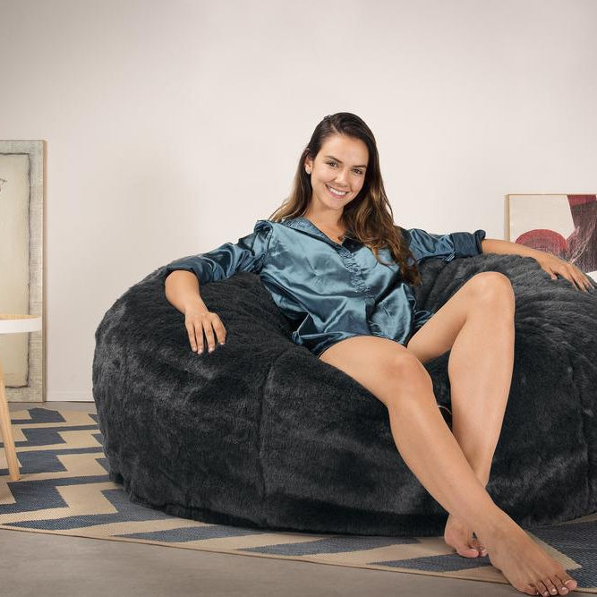 CloudSac-1010-XXL-Giant-Memory-Foam-XXL-Bean-Bag-Sofa-Fluffy-Faux-Fur-Badger-Black_2