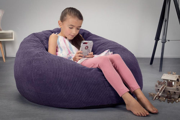 CloudSac-Kids'-Memory-Foam-Giant-Children's-Bean-Bag-Pom-Pom-Purple_2