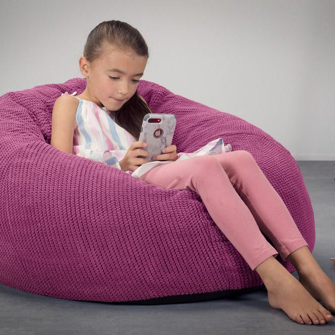 CloudSac-Kids'-Memory-Foam-Giant-Children's-Bean-Bag-Pom-Pom-Pink_2