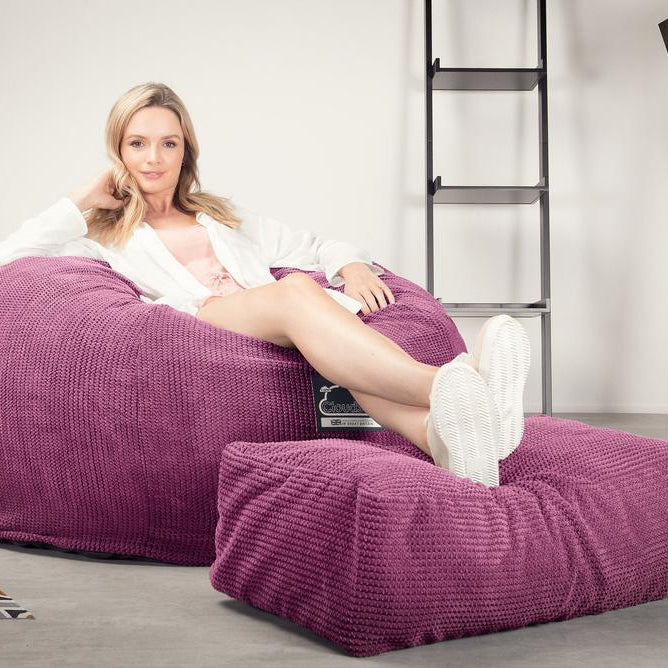CloudSac-510-XL-X-Large-Memory-Foam-Bean-Bag-Pom-Pom-Pink_2