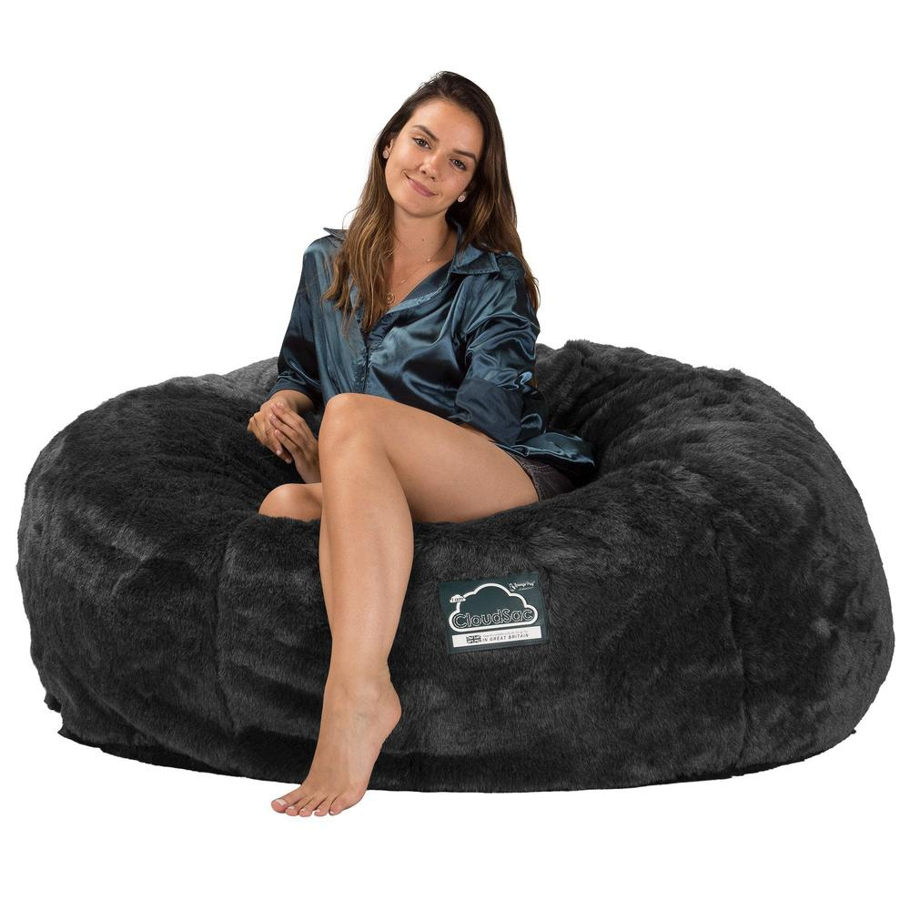 CloudSac-1010-XXL-Giant-Memory-Foam-XXL-Bean-Bag-Sofa-Fluffy-Faux-Fur-Badger-Black_5