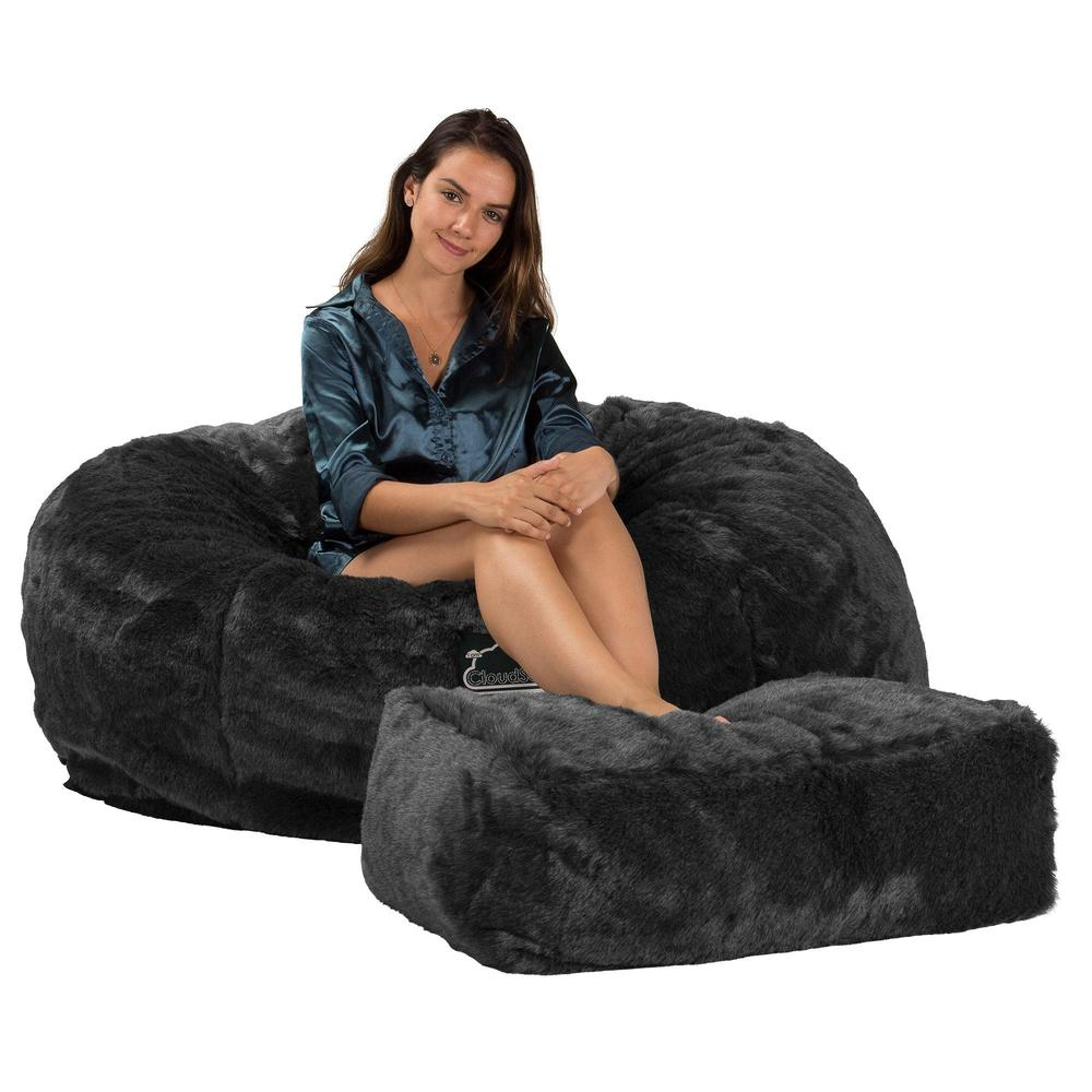 CloudSac-1010-XXL-Giant-Memory-Foam-XXL-Bean-Bag-Sofa-Fluffy-Faux-Fur-Badger-Black_3